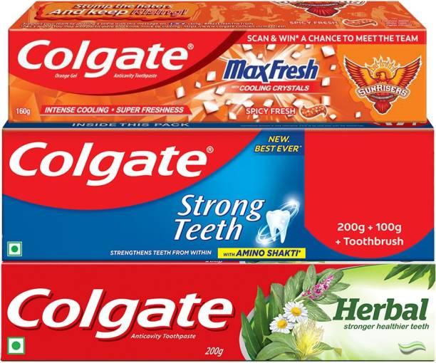 Colgate Gala Pack, Maxfresh Orange 160g & Strong Teeth 300g & Herbal Toothpaste 200g Toothpaste