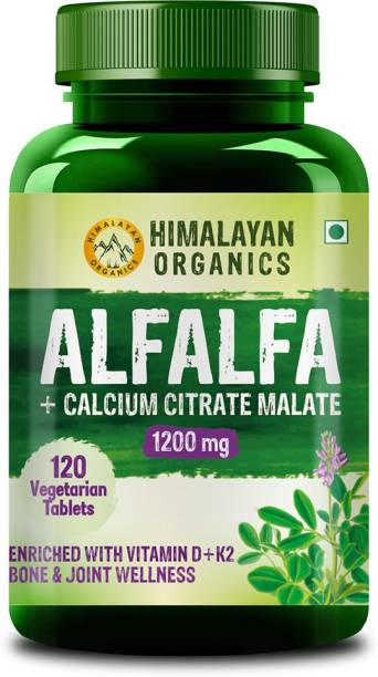 Himalayan Organics Alfalfa Calcium Citrate Malate 1200mg with Vitamin D, k2, Mk7, B12, Zinc