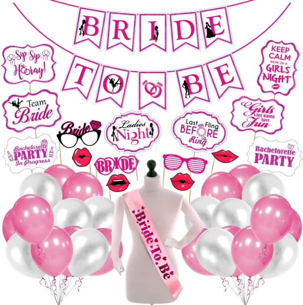 ZYOZI Bachelorette Party Decorations - Bridal Shower Decor & Bachelorette Decorations Kit Supplies - Bride to Be Sash, Banner, Photo Booth and Balloon (Pack of 42) (Pink and White)