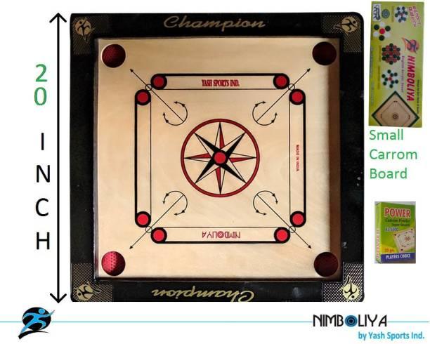 NIMBOLIYA Wooden Carrom board 20 inch With coin and striker 20 cm Carrom Board