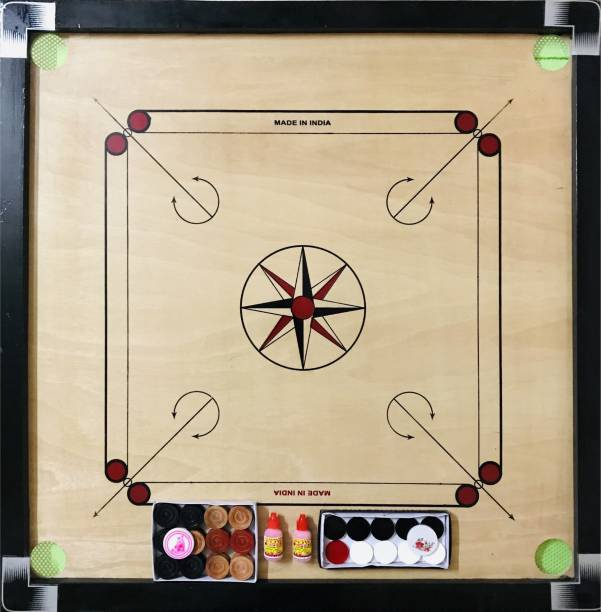 AARAV Carrom Board For Adults Full Size 32 Inches with 2 Set Coins Premium Product 3 cm Carrom Board