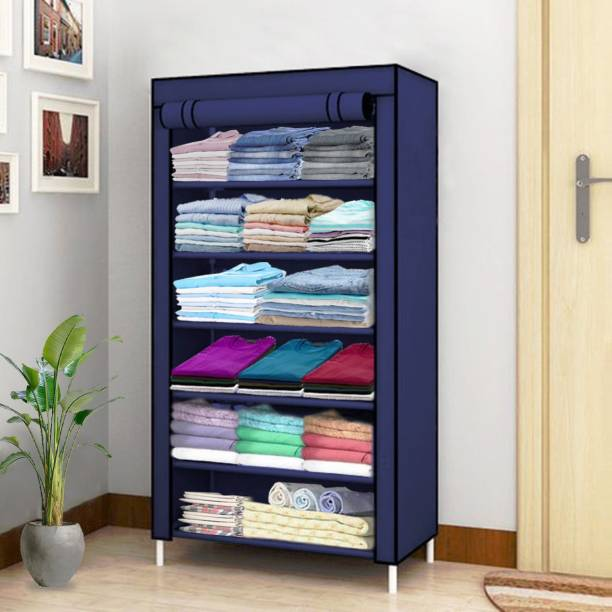 Sasimo 1 Door 6 Shelf Fabric PP PC Collapsible Wardrobe