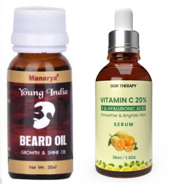 Manarya Sun's Heart Premium Men's Grooming Combo of Argan Beard Oil And Vitamin C Serum With Hyaluronic Acid
