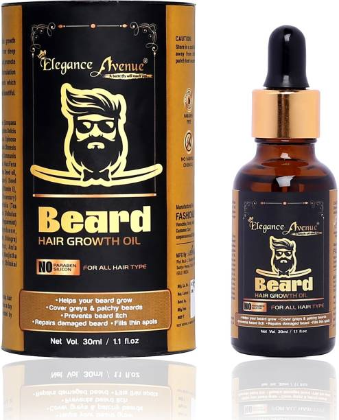 Elegance Avenue Beard Oil, 30 ml ( Which helps you in : Helps your beard grow, Cover greys & patchy beards, Prevents beard itch, Repairs damaged beard, Fills thin spots, Provides Shine to Beard, Prevents dry and flaky beard ) - SLS & Parabean Free. Hair Oil