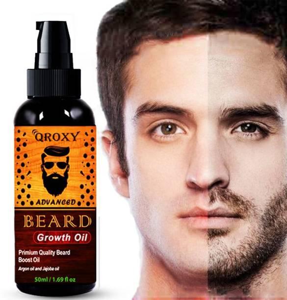 Qroxy Advanced and Fast Beard Growth Oil for Men strong and healthy beard growth organic beard oil Hair Oil