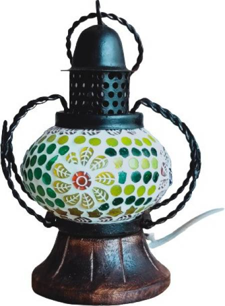 Spark Decor Multicolor handcrafted MOSAIC STYLE LANTERN with LED light Multicolor Wooden, Metal, Glass Hanging Lantern