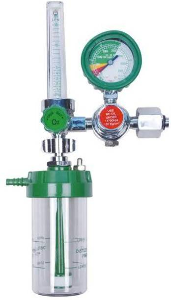 Trend-Aspire Glass Oxygen Flow Meter with Regulator and Humidifier Bottle (Adult) Wall Mount Oxygen Cylinder Holder
