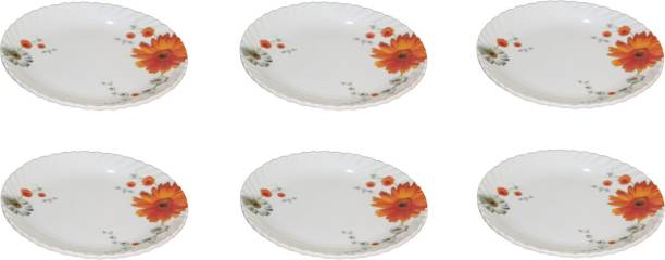 Royal Melamine 8 Inch Orange and White Flower Printed Plate 6 Pics Half Plate