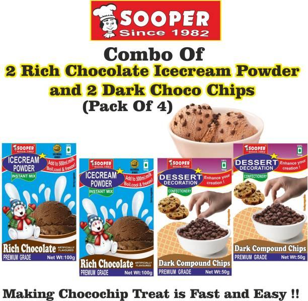 SOOPER ICE CREAM MIX POWDER 2 CHOCOLATE + 2 DARK CHOCO CHIPS COMBO 300 g