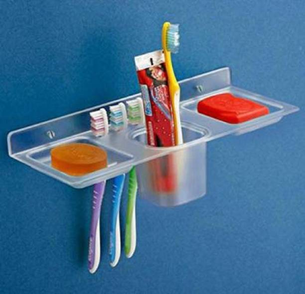 iSTAR Plastic 4 in 1 Multipurpose Kitchen/Bathroom Shelf/Paste-Brush Stand/Soap Stand/Tumbler Holder/Bathroom Accessories (Transparent) Acrylic Wall Shelf (Number of Shelves - 1)