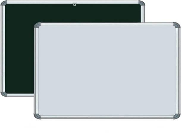 Devew Non Magnetic Melamine Whiteboard 1.5x2 feet Double Sided White Board and Chalk Board one Side White Marker and Reverse Side Chalk Board Surface Whiteboards