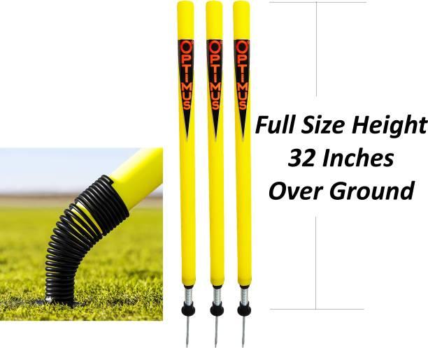 Optimus Cricket Plastic Target Stump Wicket 3 Pcs-Flexible Steel Spring & Ground Spike