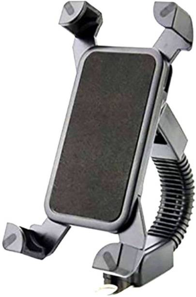Anweshas Flexible Long Neck Motorcycle/Bicycle 360 Degree Mirror Stand Rotating Bike Mobile Holder for All Mobile Phones Upto 7 inches Bike Mobile Holder