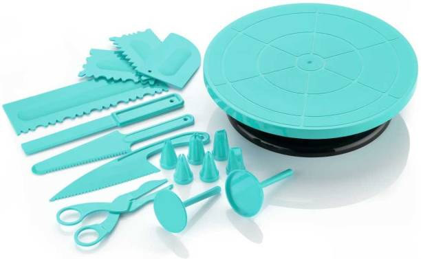 Kreyam's 17 pieces Blue all in one plastic cake decoration tools combo for making and baking cake at your home, kitchen and bakery. Cake turn table revolving, 6 pc nozzle set, 4 pc scrapper, 3 pc knife, flower rose lifter. Cake making materials | baking equipment Blue Kitchen Tool Set (Blue) Plastic Cake Server