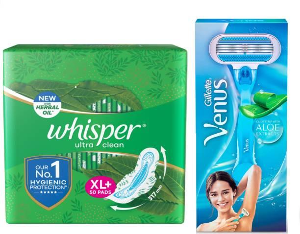 Whisper Ultra Clean 50s plus Venus Hair Removal Razor (Women Hygiene Combo) Sanitary Pad