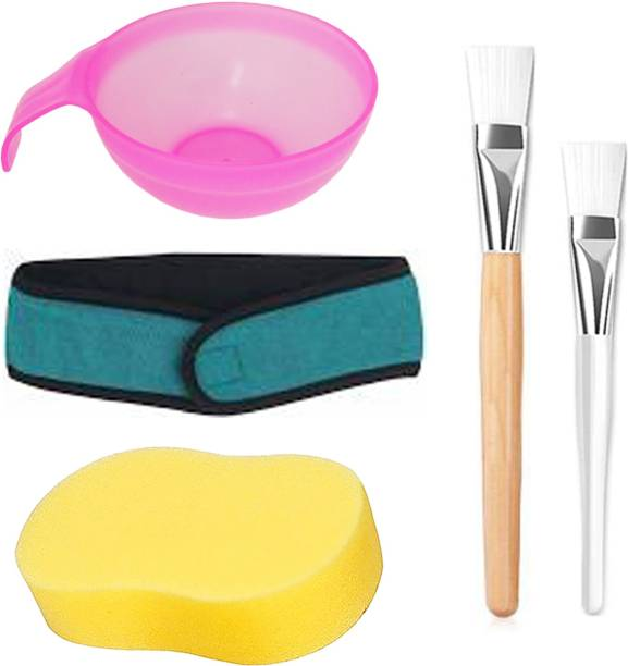 MGP Fashion Home & Professional Beauty Makeup Grooming Personal Care Tools Face Pack , bleach Brush Clear Handel Apply Brush Wooden Handle & Plastic Handle Cosmetic Tools , Applicator Mixing Bowl for Face Pack , Bleach , Color Treatments, Parlour Barber Salon Easy Grip for Men Women Kids All Purpose / Sponge for Face and Body / Hair Towel Non-slip Stretchable Washable Makeup Hair Band Headband for Face Wash