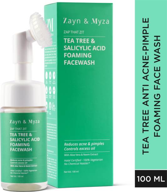 ZM Zayn & Myza Tea Tree & Salicylic Acid Foaming  With Built-In Deep Cleansing Brush For Women - With Aloe Vera & Neem Extracts, Reduces Acne & Pimples, Controls Excess Oil Face Wash