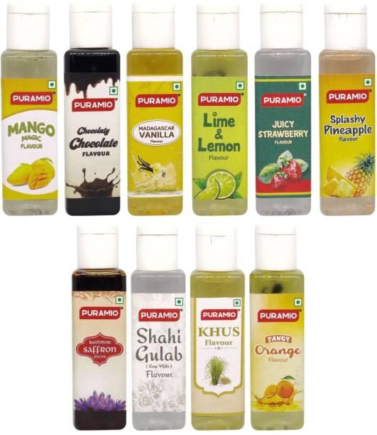 PURAMIO Concentrated Flavours- 30ml Each (Pack of 10), (Vanilla, Rose, Pineapple, Orange, Lemon, KHUS, Saffron, Strawberry, Mango, Chocolate) Mixed Fruit Liquid Food Essence