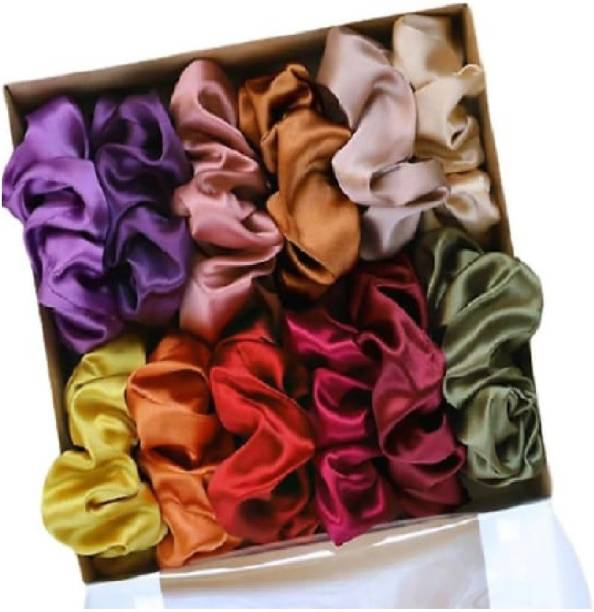 SNT Shiny Silk Hair scrunchies | set of 12 | multicolor Rubber Band