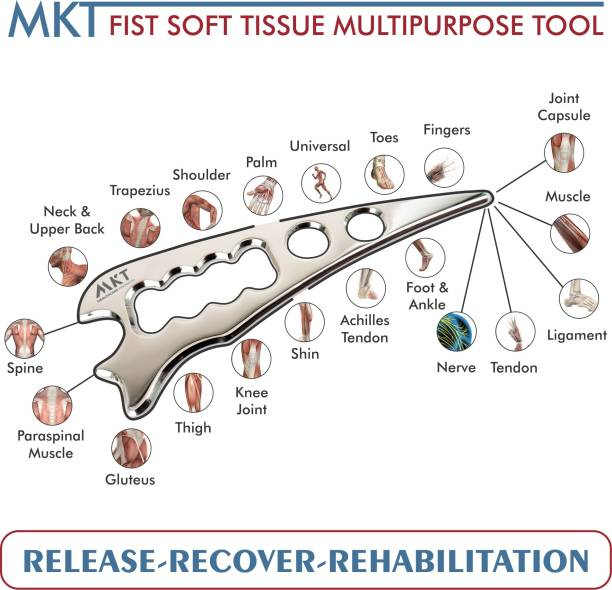 MKT Healthcare Innovation ST001 Metallic Silver Multipurpose FIST tool – the versatile, ergonomic soft tissue release and massage tool for myofascial adhesions with Black Sports carry bag. E-book and training videos included Massager