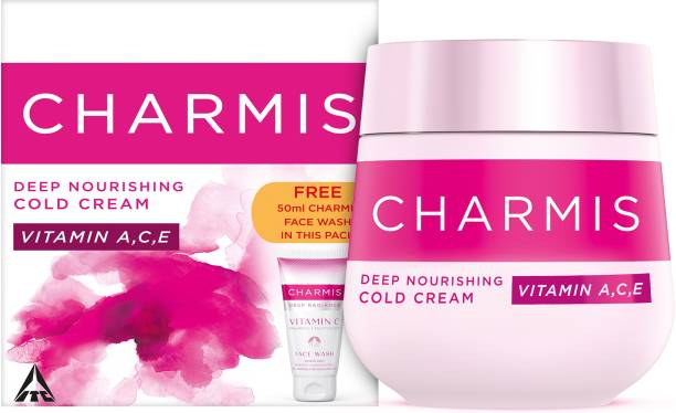 Charmis Deep Nourishing Cold Cream with Vitamin C, A & E, for glowing & nourished skin with VITAMIN C Facewash FREE