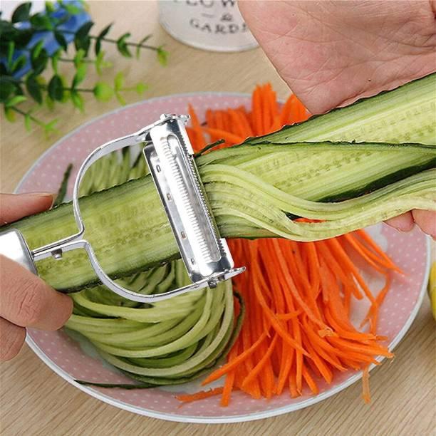 bhavyta Stainless Steel Julienne Peeler Fruit Vegetable Shredder Slicer Double Planing Cutter Potato Carrot Grater Y Shaped Peeler