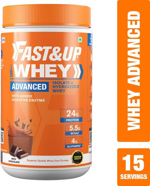 Fast&Up 100% Blend Whey Protein Isolate & Hydrolyzed-24g Protein,5.5g BCAA,4g Glutamine Whey Protein