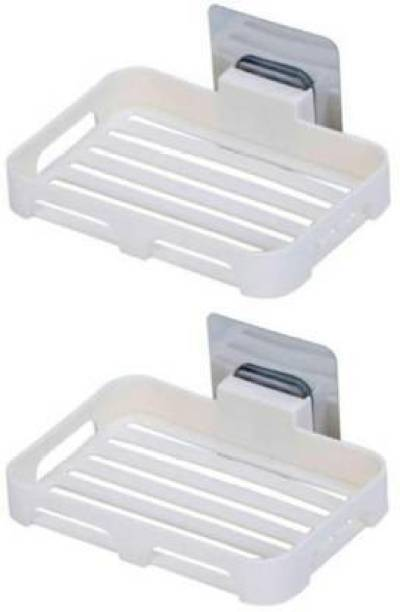 Qrex Pack Of 2 Pcs ABS Plastic Multipurpose Home Kitchen Bathroom Accessories Wall Mounted Self-Adhesive Waterproof No Drilling Soap Box Stand Storage Holder Shower Caddy with Strong Adhesive Magic Sticker (2 Soap Box,MultiColour)