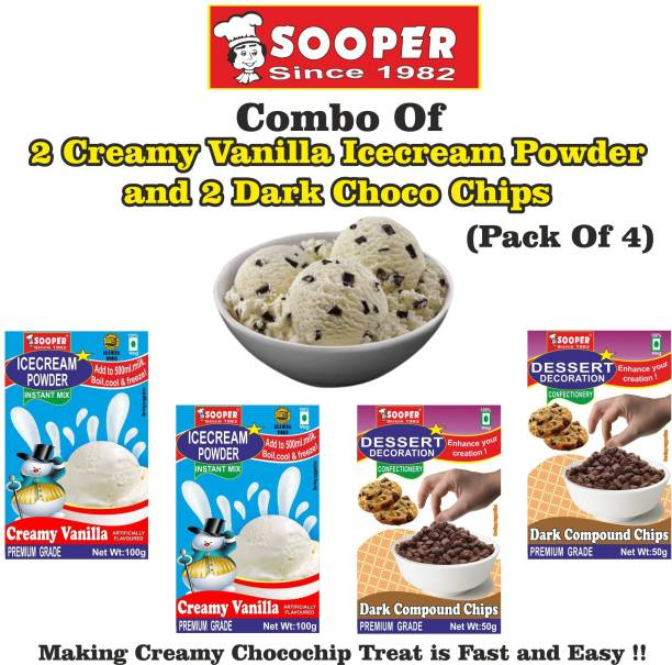 SOOPER ICE CREAM MIX POWDER 2 VANILLA + 2 DARK CHOCO CHIPS 300 g