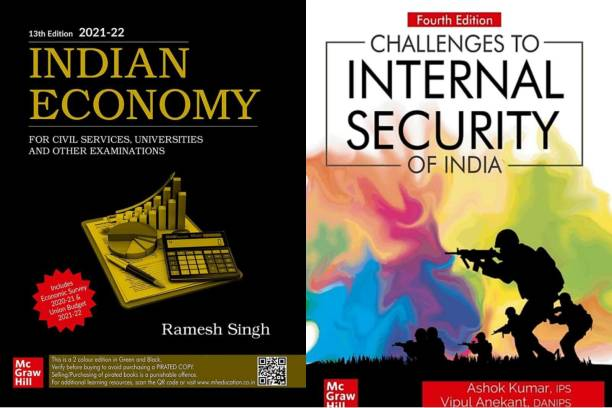 Indian Economy For Civil Services, Universities And Other Examinations (English, Paperback, Ramesh Singh) + Challenges To Internal Security Of India (English, Paperback, Kumar Ashok)