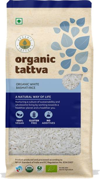 Organic Tattva White Basmati Rice   Gluten Free, 100% Vegan and No Additives   Get the Taste of Health and Nutrition   Basmati Rice (Long Grain, Unpolished)