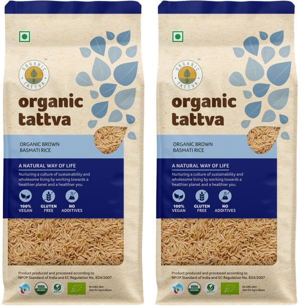 Organic Tattva Brown Basmati Rice | Helps in Weight Management| Rich in Essential Nutrients, High Fibre Goodness and Zero Cholesterol Wellness | Gluten Free and No Additives | Brown Basmati Rice (Long Grain, Unpolished)