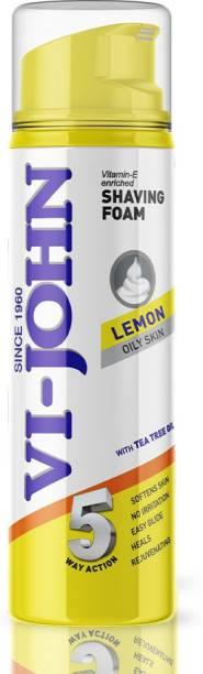 VI-JOHN Classic Lemon Shave Foam for Oily Skin with Tea Tree Oil (200 GM) (Pack of 1)