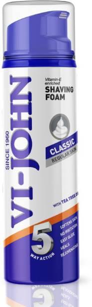 VI-JOHN Classic Shave Foam for Regular Skin with Tea Tree Oil (200 GM) (Pack of 1)