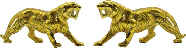 salvus app solution Golden Metal Anitique Tiger Figurine/Statue/Showpiece for Home, Office, Table Decor and Gift Item, Set of 2 (4x8inch) Decorative Showpiece  -  10.2 cm