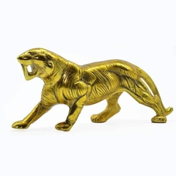 salvus app solution Golden Metal Anitique Tiger Figurine/Statue/Showpiece for Home, Office, Table Decor and Gift Item (4x8inch) Decorative Showpiece  -  10.2 cm
