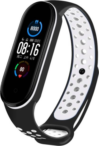 WEBDOO INFOTECH Xiaomi Mi Band 5/ M5 High Quality(Nike Design/ Dotted Multi Color) Soft Breathable Strap Silicone Sports Watch Bands For Xiaomi Mi Band 5/ Mi Band 5 Adjustable Mi Band Strap Combo for Xiaomi Mi Band 5/ Mi Band 5 strap   Fitness Band Strap for M5 / M5   MI Band 5 / 5 , M5 Fitness Band Strap , M5 Strap , Soft Silicone Replacement Strap Nike Series For Xiaomi Mi Band 5(Black,White) Smart Band Strap Smart Band Strap