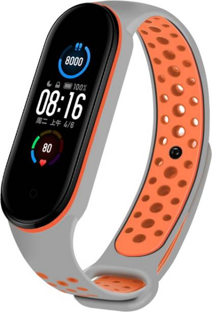 WEBDOO INFOTECH Xiaomi Mi Band 5/ M5 Strap High Quality(Nike Design/ Dotted Multi Color) Soft Breathable Strap Silicone Sports WatchStrap For Xiaomi Mi Band 5/ Mi Band 5  Adjustable Mi Band Strap Combo for Xiaomi Mi Band 5/ Mi Band 5 strap   Fitness Band Strap for M5   M5 Fitness Band Strap , M5 Strap , Soft Silicone Replacement Strap Nike Series For Xiaomi Mi Band 5(Orange+Grey) Smart Band Strap Smart Band Strap