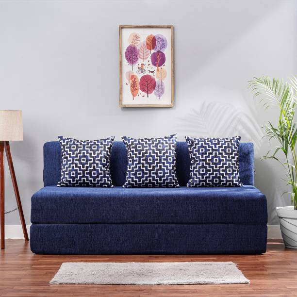 Solis Primus-comfort for all 5x6 size Sofa cum Bed for 3 Person- 3 Seater Moshi Fabric Washable Cover with 3 Cushions(Multi Square Pattern) - Blue Double Sofa Bed