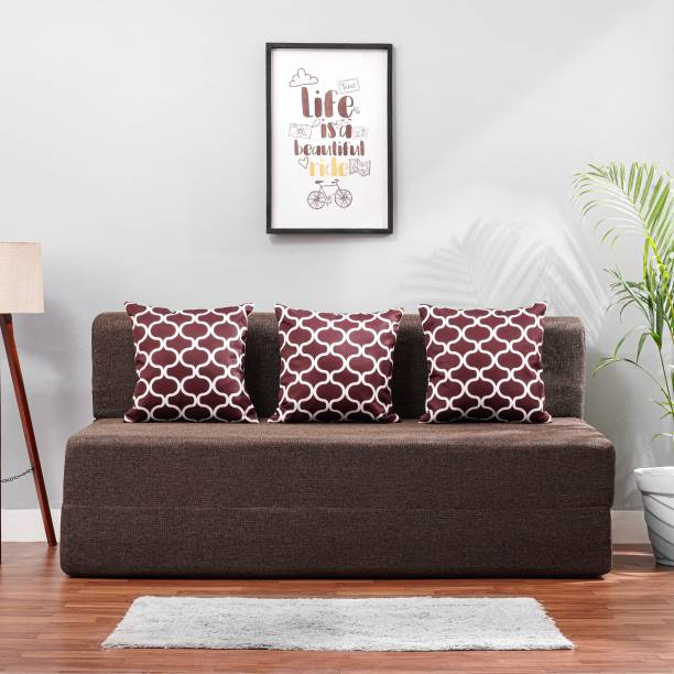 Solis Primus-comfort for all 5X6 size Sofa cum Bed for 3 Person- 3 Seater Jute Fabric Washable Cover with 3 Cushions (Multi Oval Pattern)- Coffee. Double Sofa Bed
