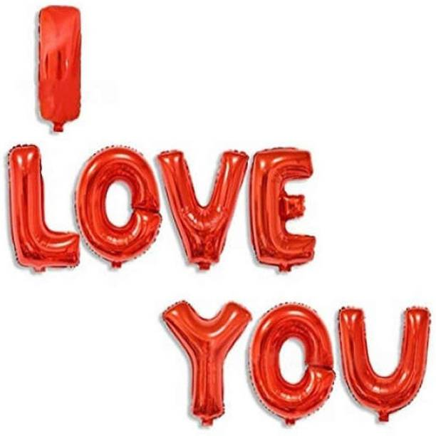 Shopperskart Solid I Love You Letter-Alphabet Balloons Birthday-Anniversary-Valentines day Letter Balloon