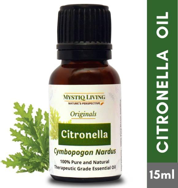 Mystiq Living Citronella Oil - 100% Pure and Natural Steam Distilled -15 ml