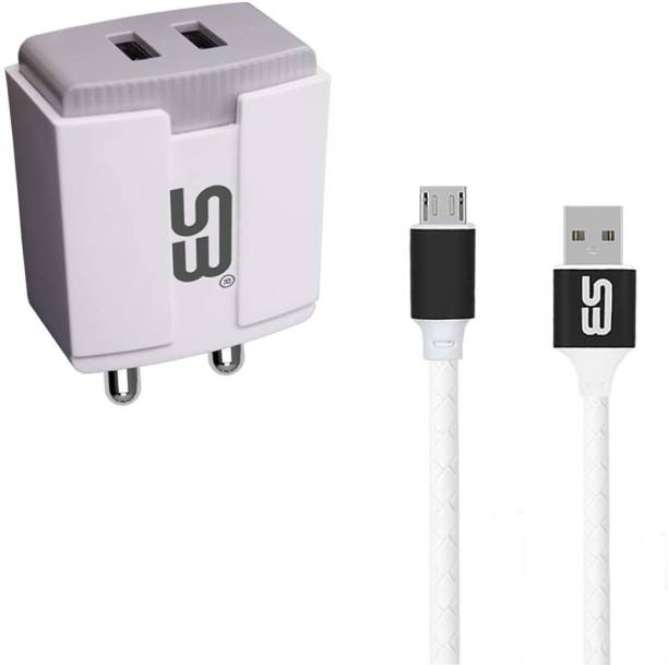 shopbucket 3.4AMP Power Adapter 5W Double USB Port Mobile Charger BIS Certified, Auto-detect Technology, (White) With Micro USB 2.4A Charging cable (Black) Length 1 Meter Long Cable Compatible With Infinix Hot 10 Play, Infinix Hot 10S, Infinix Smart 5,Infinix Smart 4 Plus, Infinix Hot 9. 5 W 3.4 A Multiport Mobile Charger with Detachable Cable