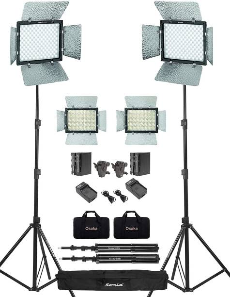 Osaka Bi-Color Dimmable LED Video Light OS 300 for DSLR Video Cameras YouTube Video with 2 Pc Combo kit: 2 Battery 8000 mAh 2 Fast Charger 2 Light Stand 2 Umbrella Adapter 2 LED Bag 1 Stand Bag 2650 lx Camera LED Light