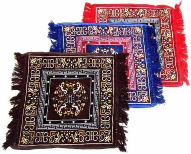 TerryFox Red, Blue, Brown Velvet Carpet