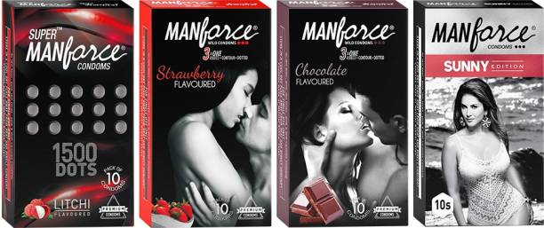 MANFORCE Mankind Condoms Combo Pack (Strawberry, Chocolate, Litchi, Sunny Flavoured)- 10 Pieces (Pack of 4) Condom