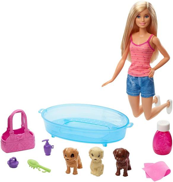 BARBIE DOLL & 3 PUPS WITH BATHTUB PLAYSET, GREAT PLAY VALUE, LOVED BY GIRLS , GREAT GIFT ,