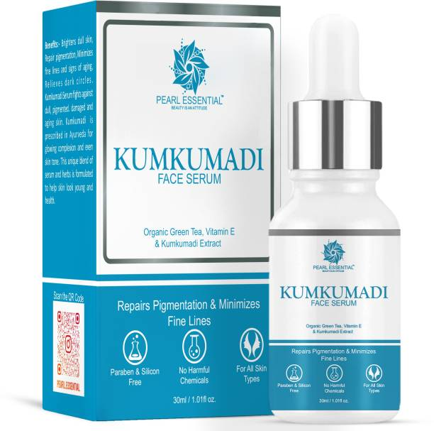 PEARL ESSENTIAL Kumkumadi Face Serum For Spotless/Glowing Skin With Organic Green Tea & Vitamin E Extracts 30ml