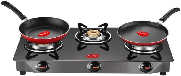 Pigeon Gas Stove Combo - Brunet 3 Burner Gas Cooktop + Flat tawa 250 + Fry Pan 240 Stainless Steel Manual Gas Stove