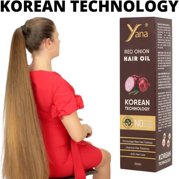 Yana Red Onion Hair Oil KOREAN TECHNOLOGY Almond Aloe vera Extract Vitamin E Bhringraj Amla Brahmi // Fall Care Anti Dandruff Control Intense Long Treatment NO Silicones For Men & Women for fast growth women in Long increase h Black Seed Onion Herbals 100% Pure Ayurvedic Herbs for ReGrowth And Anti-Hair Oil black seed hair oil red onion oil for hair regrowth Hair Oil